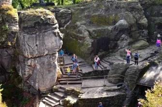 Ausflugsziel Bastei und Felsenburg Neurathen in der Sächsischen Schweiz Treppen im Stein