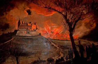 Burg Stolpen in Flammen