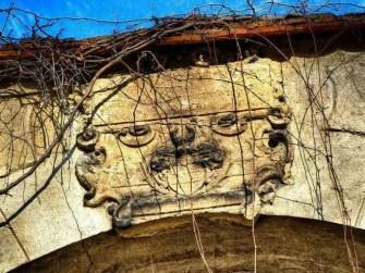 Wappen aus Stein bewachsen