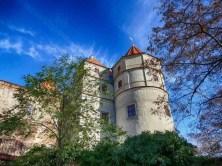 Außenansicht Schloss Scharfenberg mit Turm