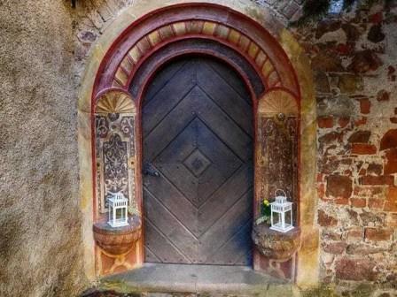 Eingang Holztüre Laternen Ornamente