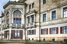 Außenansicht Schloss Albrechtsberg Fenster Türen Treppe