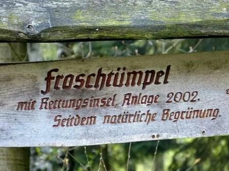 Froschtümpel Rettungsinsel Schild