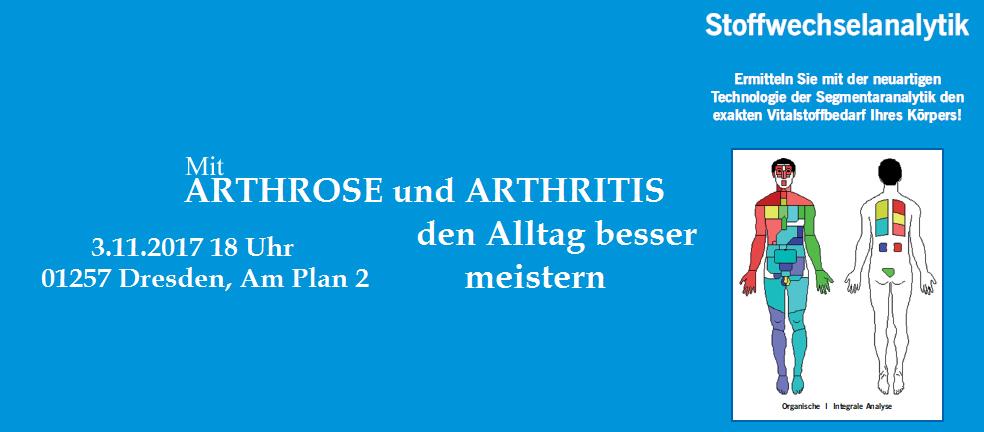 Mit ARTHROSE und ARTHRITIS den Alltag besser meistern. Fachvortrag ARTHROSE UND ARTHRITIS mit Dipl.-Biochem. Stefan Czichos