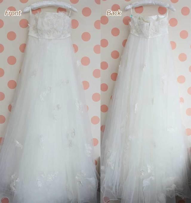 オーガンジと刺繍の可愛らしいウエディングドレス