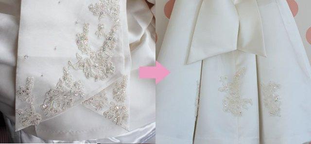 ウエディングドレス襟の刺繍部分