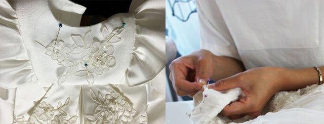 前身頃にも刺繍を縫い付けていきます
