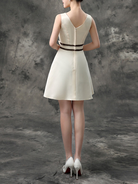 Champagne Short To Knee V Neck Dress