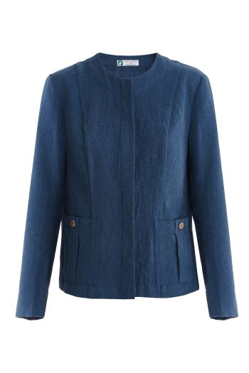 синий жакет с карманами из крапивы