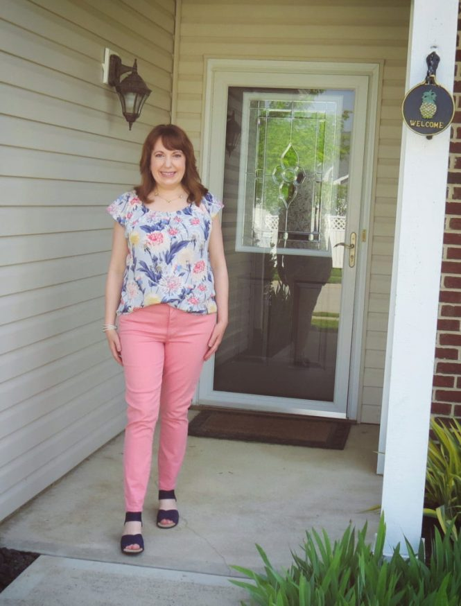 Pink Jeans And Floral Top
