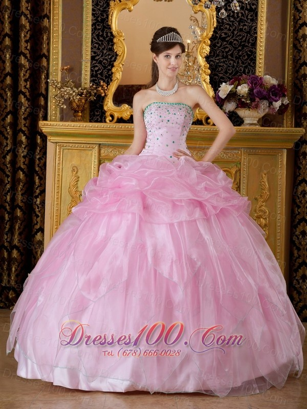 Baby Pink Sweet 16 Dress Beading Organza |Discount ...