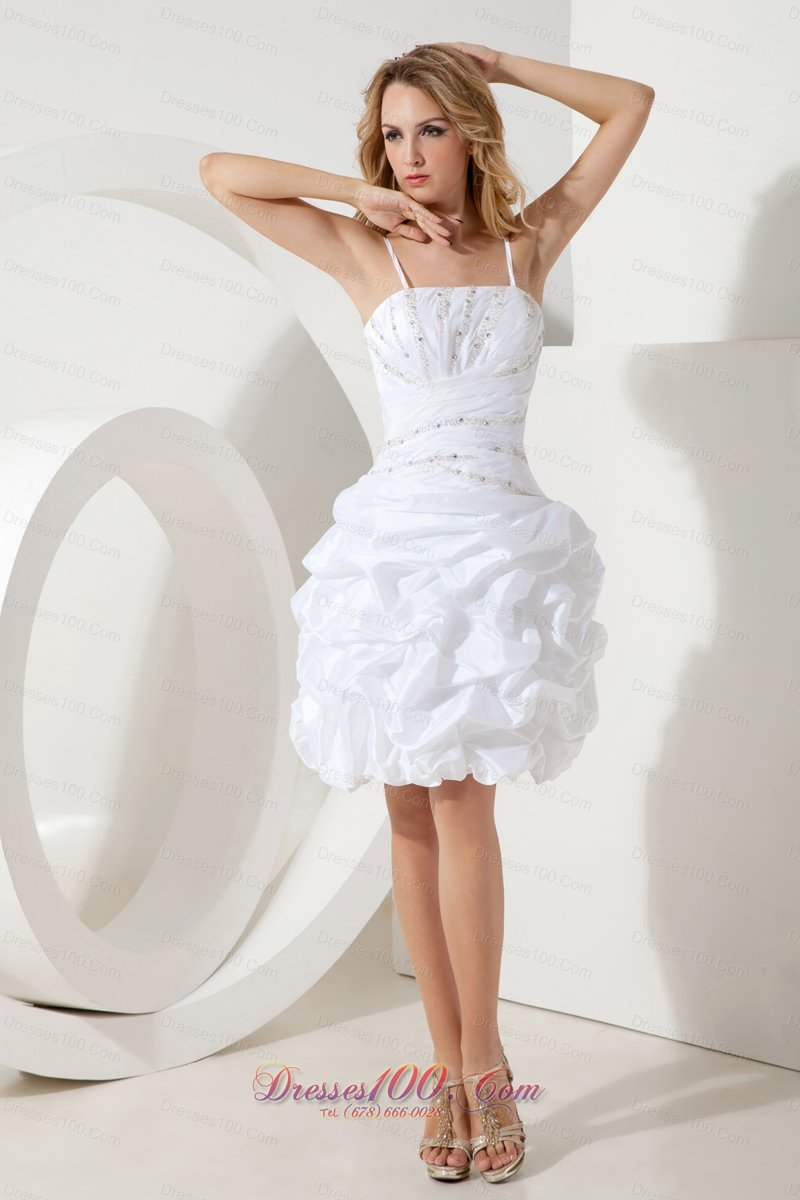 White Spaghetti Straps Cocktail Dress Puffy Skirt Beading ...