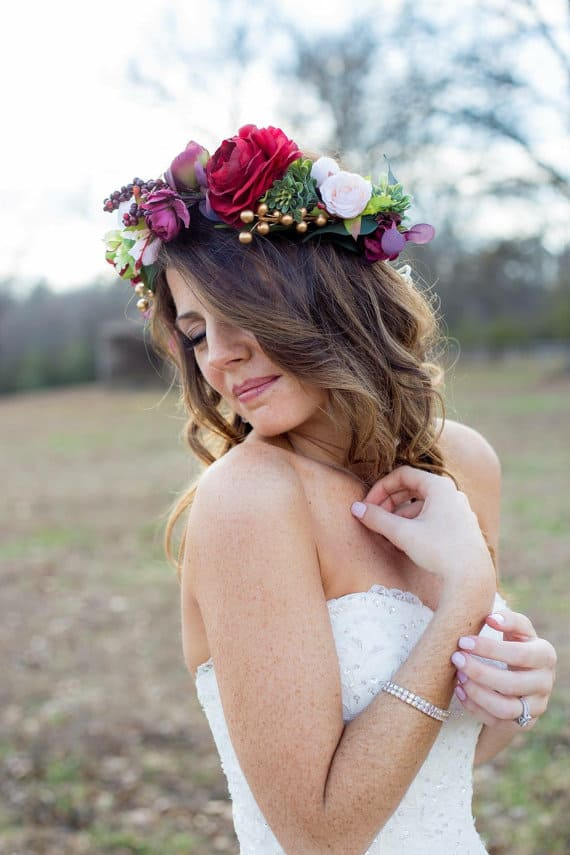 Flower Crowns And Floral Hair Accessories For Weddings