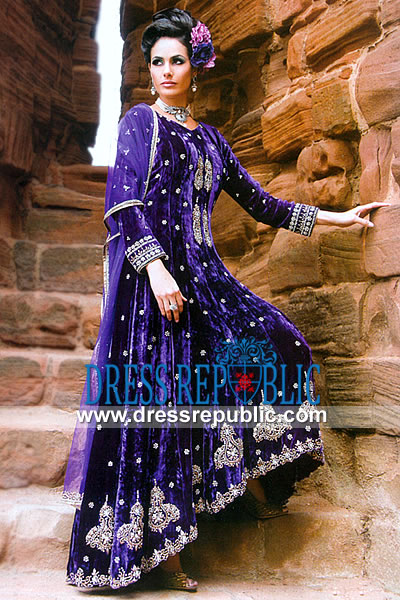 Velvet Bridal Gown Pakistani Indian Designer