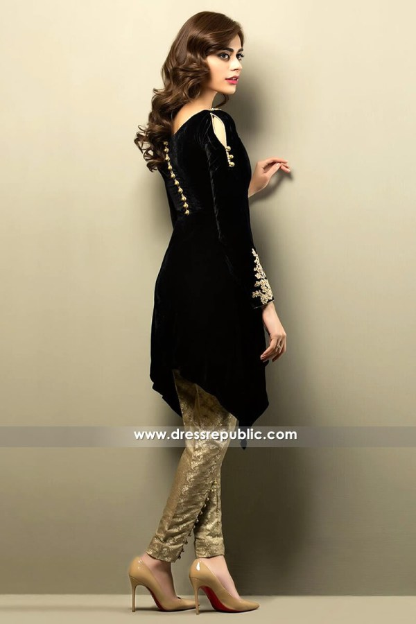 DR14153 - Black Velvet Dress for Party Wear