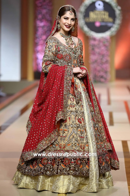 DR14215 - Indian Bridal Lehenga in Red and Gold 2017