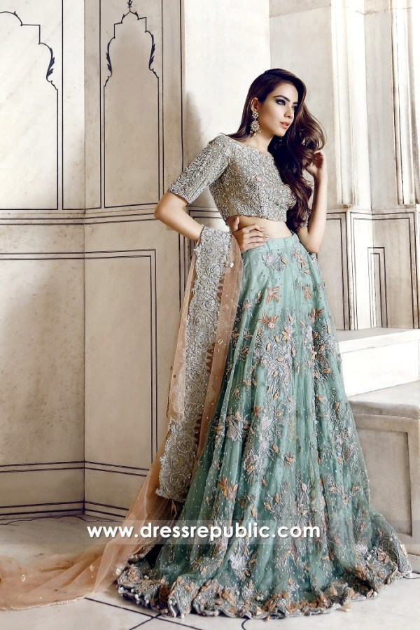 DR14361 - Aqua Mist Bridal Lehenga for Walima Reception