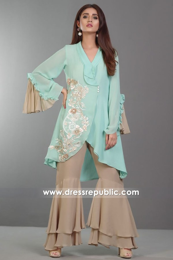 DR14374 - Green Water Pakistani Casual Wear Dress Buy Online in UK