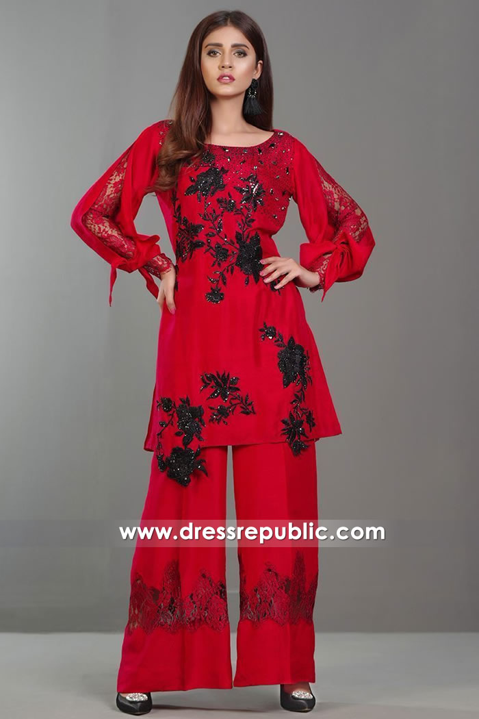 DR14378 - Casual Red Indian Designer Dress Online Buy in New York, New Jersey