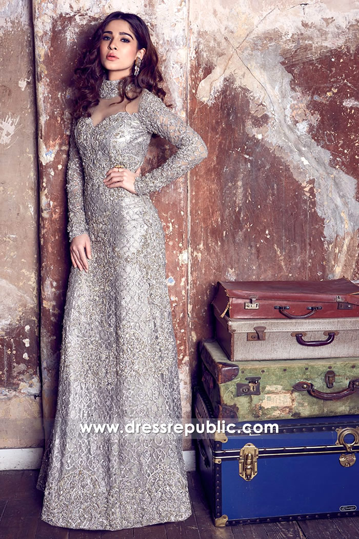 DR14435 - Ayesha Omar Models Beautiful Pakistani Long Gown