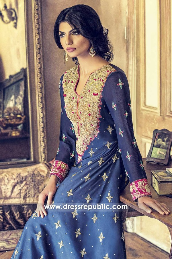DR14467 - Anarkali Dress 2018 New Zealand in French Blue Color Shop Online