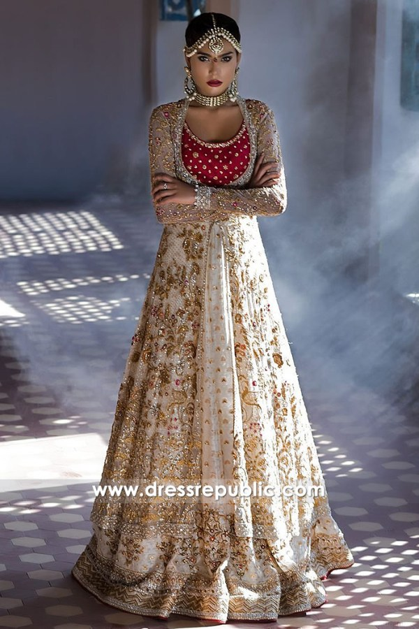 DR14496 - Champagne Bridal Lehenga Long Jacket by Sania Maskatiya