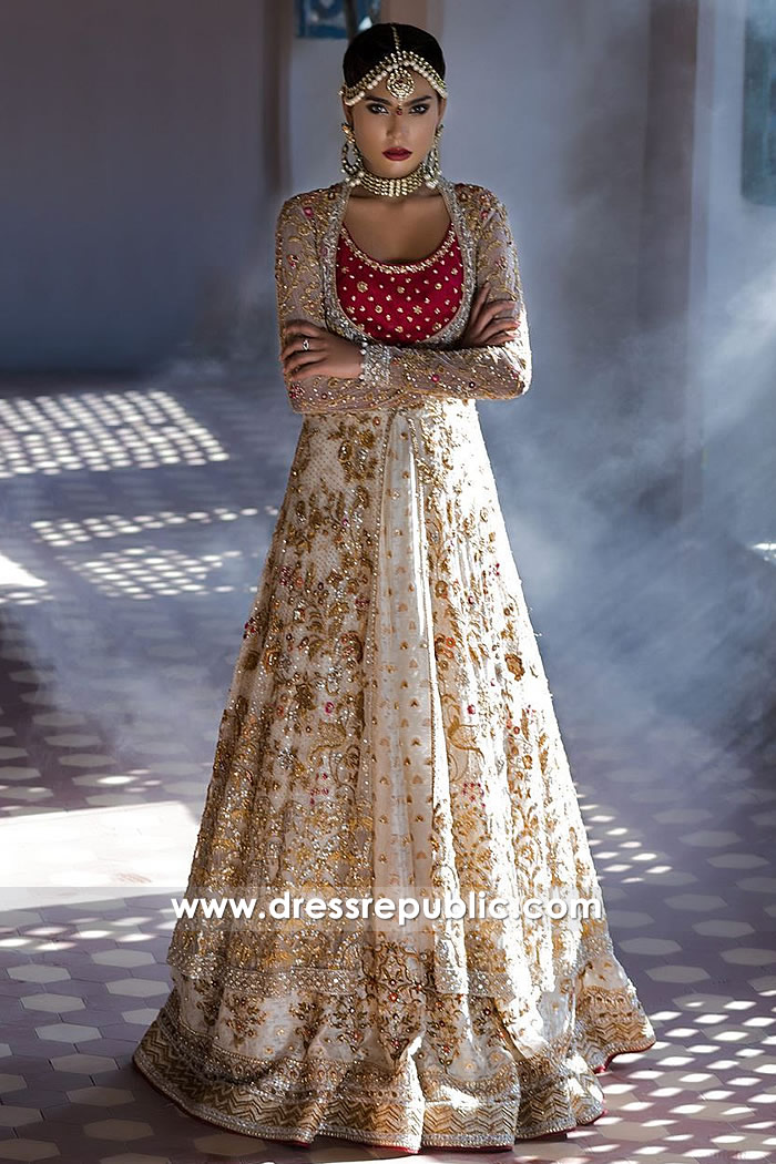 DR14496 - Champagne Bridal Lehenga Long Jacket by Sania Maskatiya