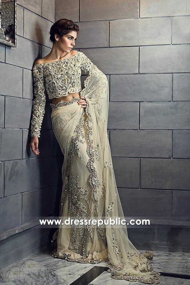 DR14595 Champagne Lehenga Saree for Wedding Guest or Wedding Bride