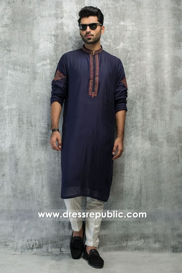 DRM5191 Buy Pakistani Groom Formal Kurta Shalwar With Embroidered Neckline