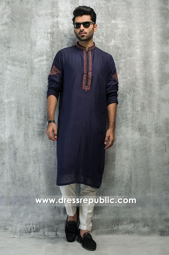DRM5191 Buy Pakistani Groom Formal Kurta Shalwar With Embroidered Neckline