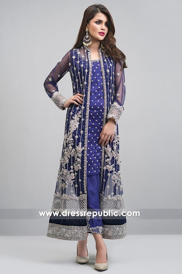 DR14719 Cobalt Blue Long Jacket Dress by Zainab Chottani Buy Online