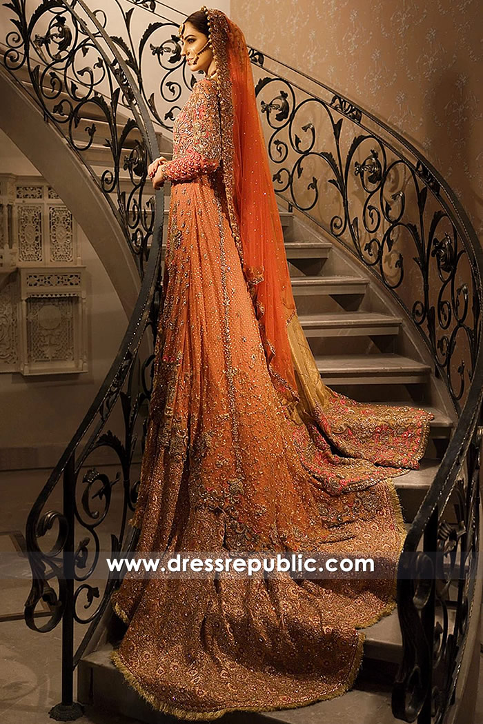 DR14778 Pakistani Bridal Dress with Long Train 2018 USA, UK, Canada, Australia