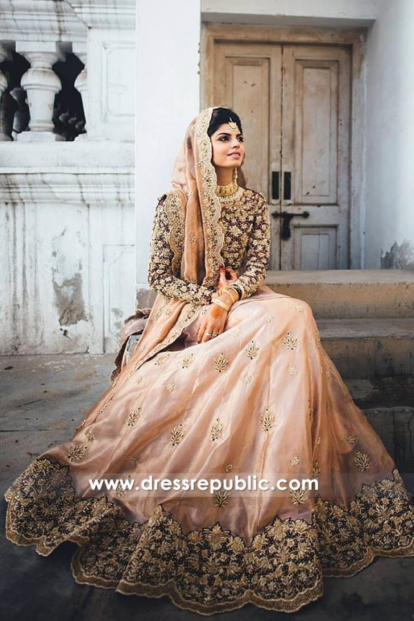 DR14801 Peach Bridal Lehenga Choli in California Bay Area Indian Bridal Shops CA