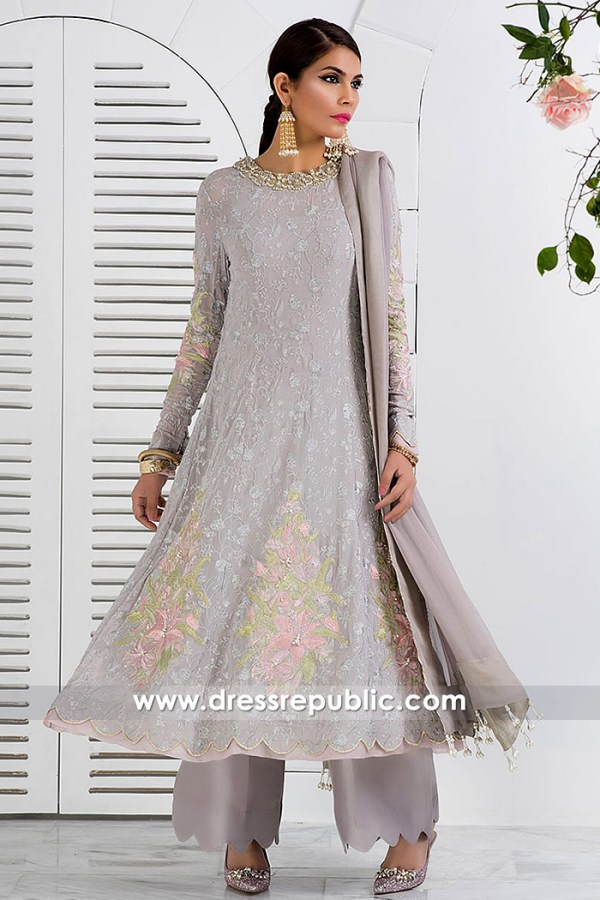 DR14835 Pakistani Long Anarkali Dress 2018 USA Chiffon Anarkali Gowns Online