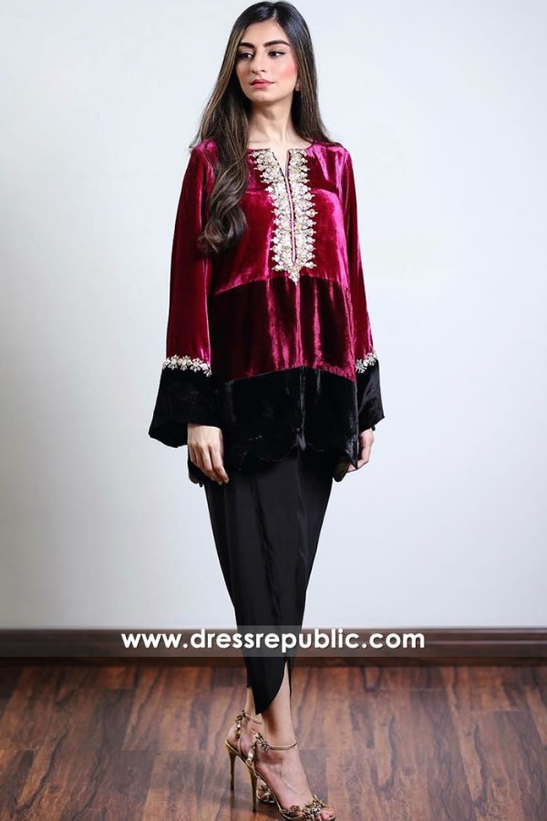 DR14914 Pakistani Designer Velvet Kurti Canada With Tulip Pants Shop Online