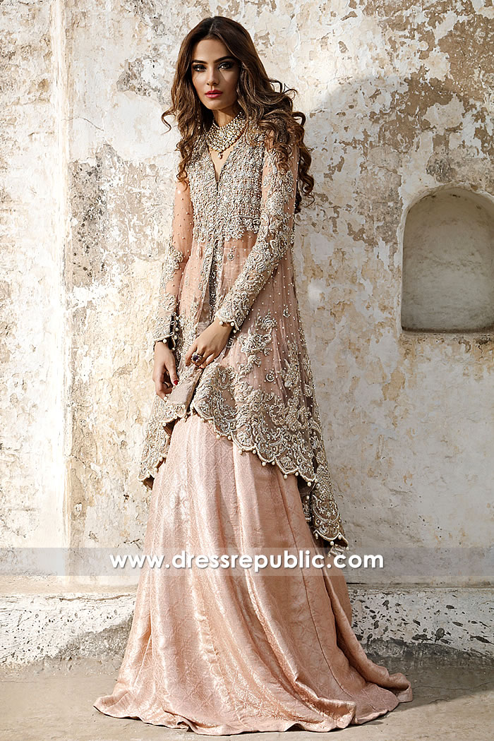 DR14974 Pakistani Engagement Bride Dresses USA 2018 in Peach Online Shop
