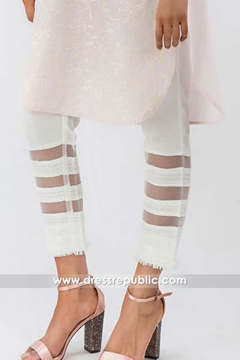 DRL1001 Cotton Pants with Organza Stripes for Casual Wear Shop Online