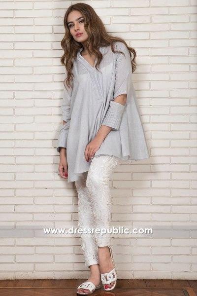 DR15015 Cloud Cotton Net Kurti Style - Pakistani Designer Casual Dress 2018
