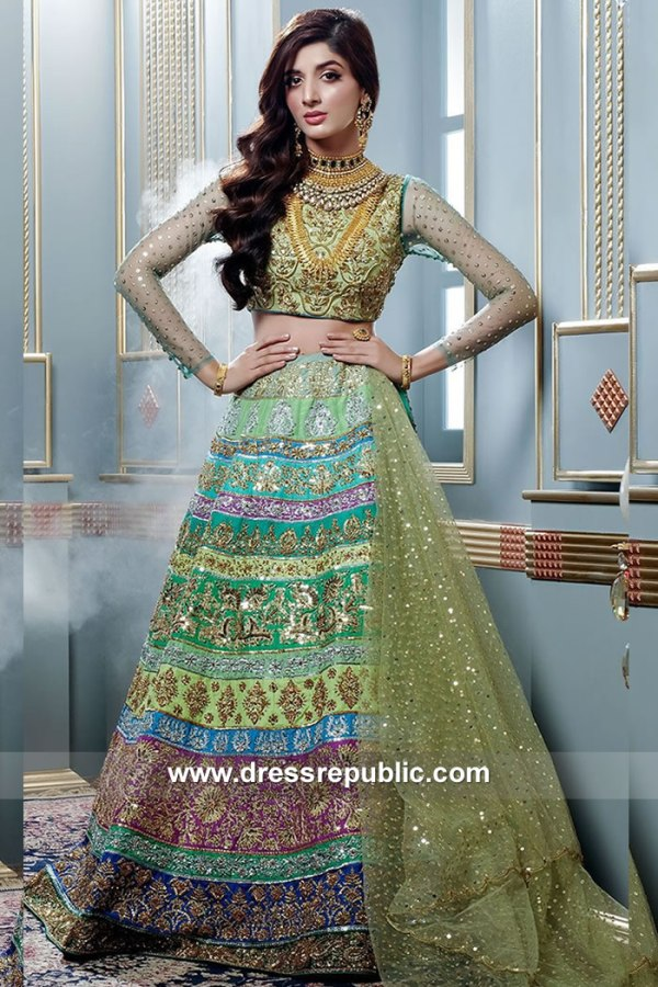 DR15083 Pakistani Designer Nomi Ansari Bridal Lehenga Collection USA, UK