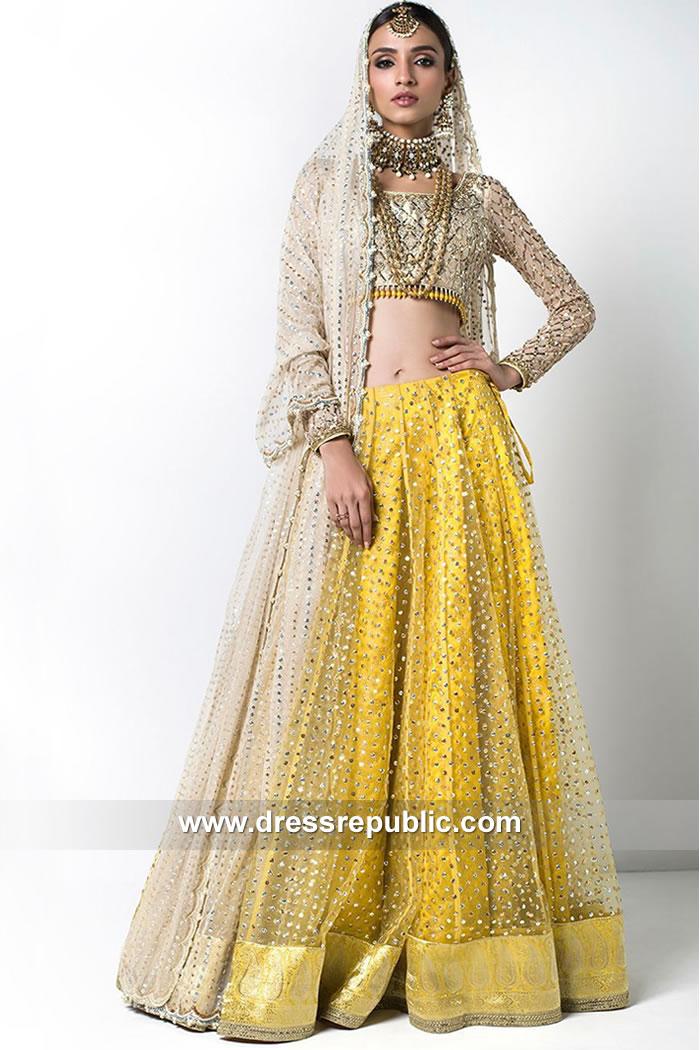 DR15089 Pakistani Designer Heavy Formal Mayoon Mehndi Dress for Women