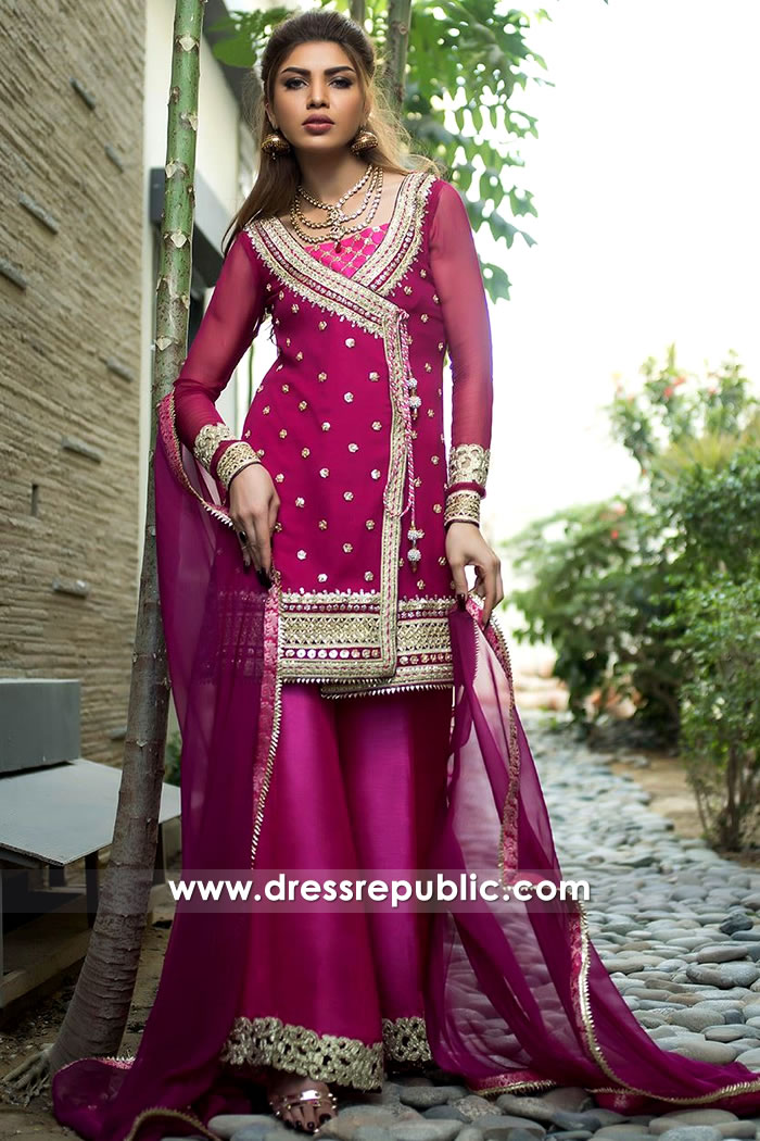 DR15166 Hot Pink Agngrakha Style Kurti London, Manchester, Birmingham, UK