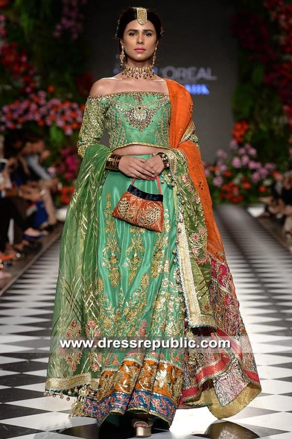 DR15331 Jade Green Pakistani Designer Bridal Lehenga Choli 2019