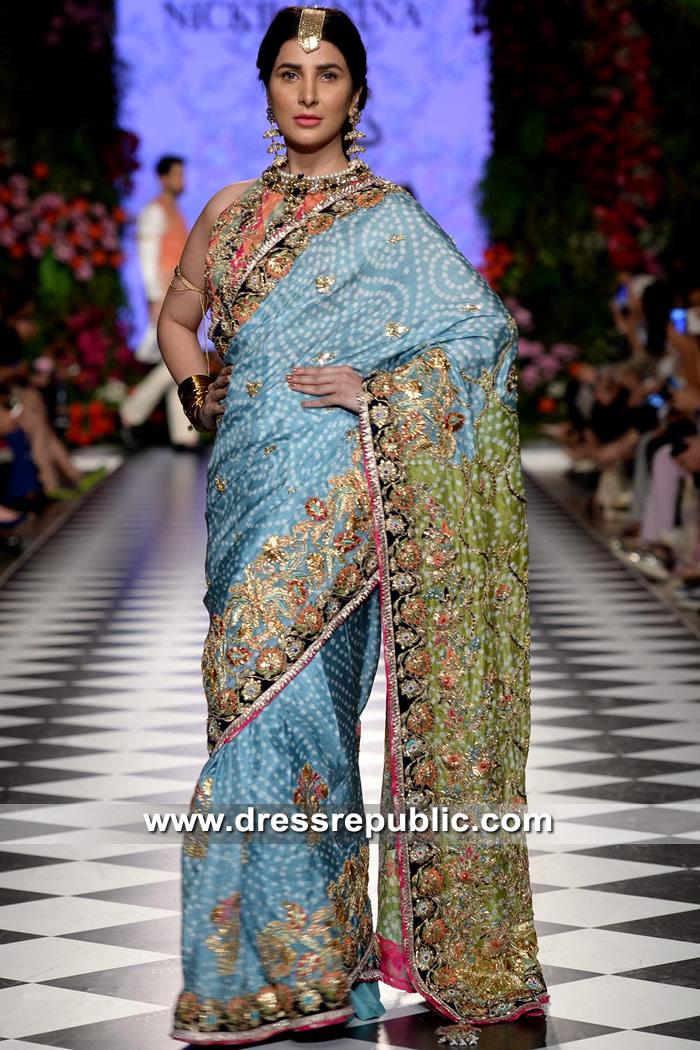 DR15332 Pakistani Designer Bridal Saree Blouse 2018 Shop Online