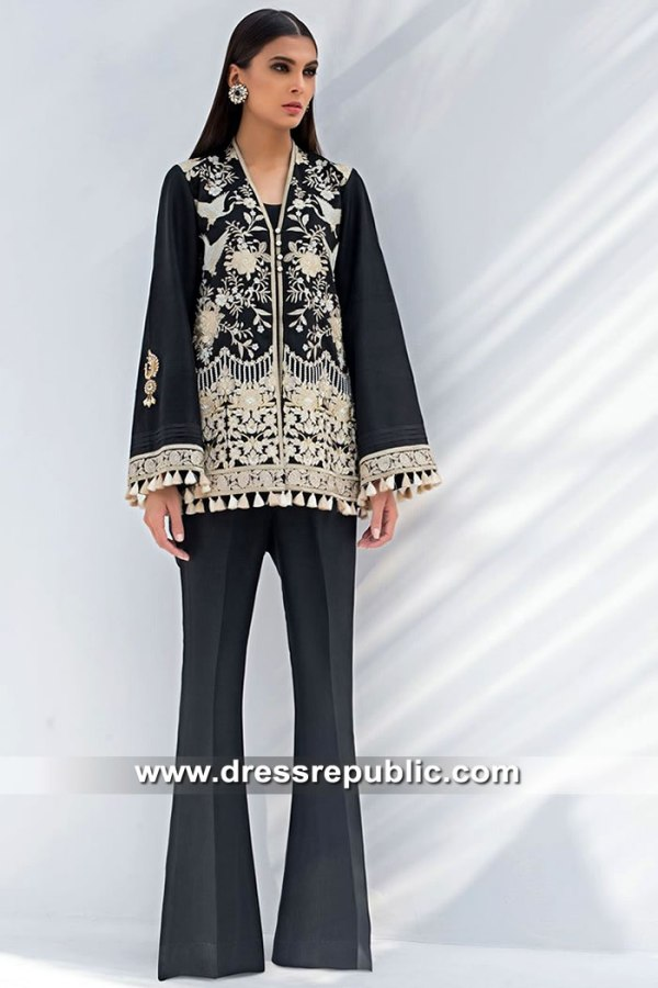 DR15408 Eid 2019 Black Floral Embroidered Jacket Buy in Canada
