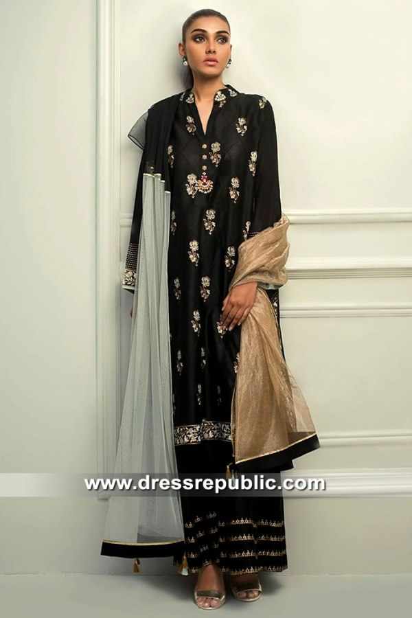 DR15409 Eid 2019 Black Sharara Dhaka Pajama Dress Buy in Canada