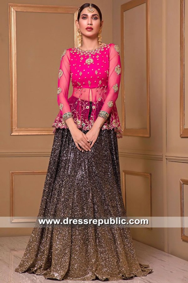 DR15521 Pakistani Lehenga Blouse for Mehndi and Wedding Guest Function