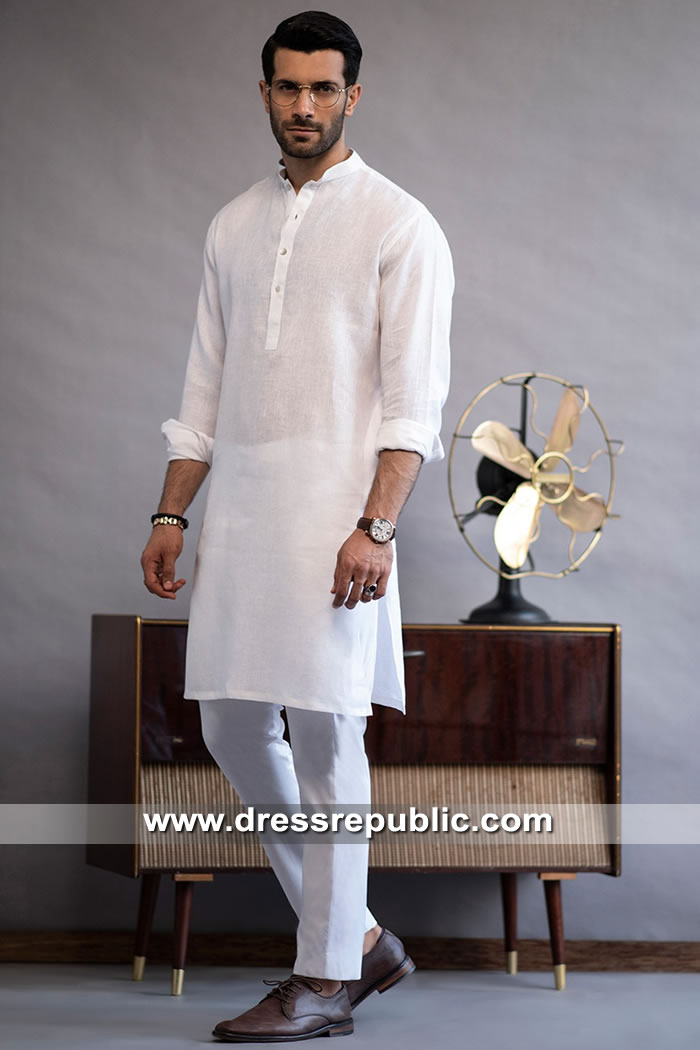 DRM5277 Men's White Kurta Shalwar Suit Atlanta, Georgia Eid Collection 2019
