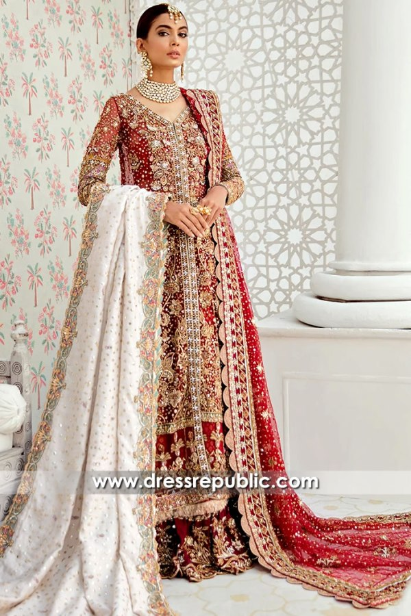 DR15700 Pakistani Designer Red Bridal Lehenga Choli Latest Collection Online
