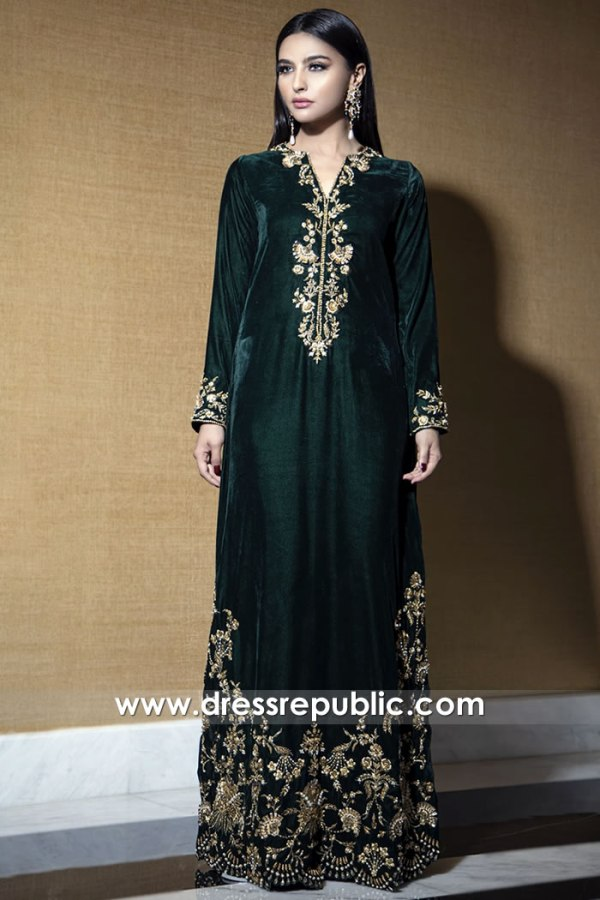 DR15777 Velvet Hand Embellished Holiday Kaftan Online Buy in USA, Canada
