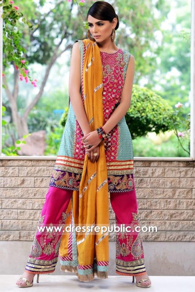 DR15795 Pakistani Designer Dresses 2020 for Mehndi, Mayoon, Henna